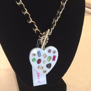 Betsey Johnson heart front closure necklace.